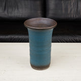 Tall Ribbed Studio Ceramic Vessel with Blue Glaze
