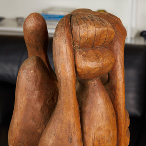 "Tall Abstract Hand Carved Wooden Sculpture Signed ""S. Carr"""