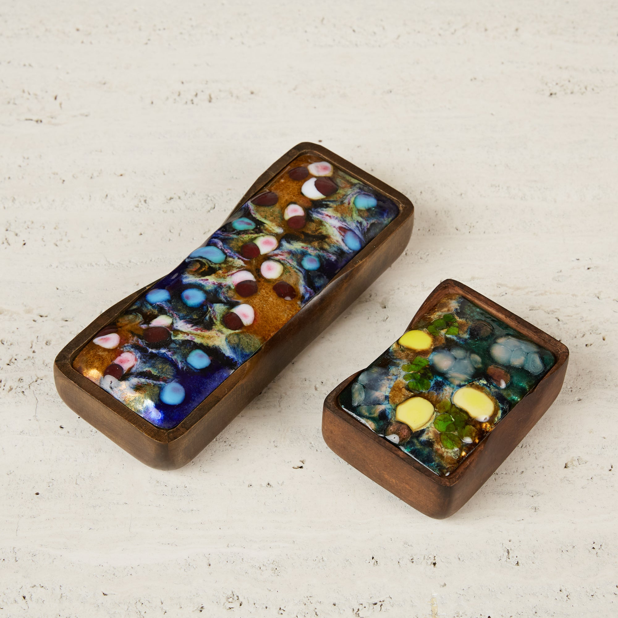 Sculpted Studio Craft Wooden Box with Multicolored Enamel Top by J. Capo
