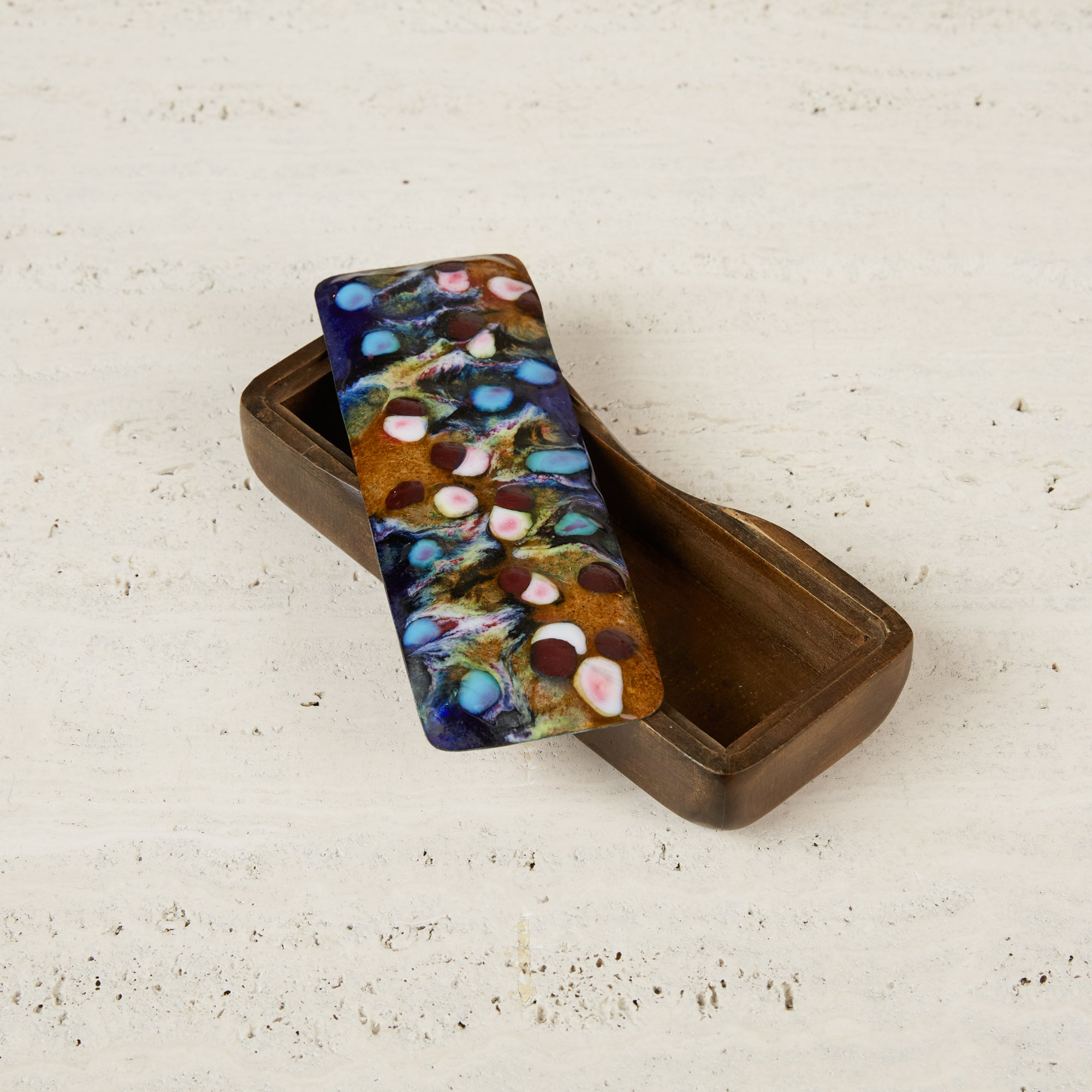 Sculpted Studio Craft Wooden Box with Multicolored Tin Top by J. Capo