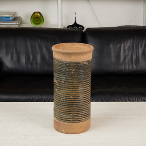 Tall Ribbed Studio Ceramic Vessel