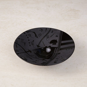"Postmodern Black Decorative Ceramic Bowl Signed ""Fabrico"""