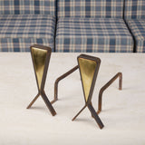 Pair of Modernist Andirons with Brass Detail