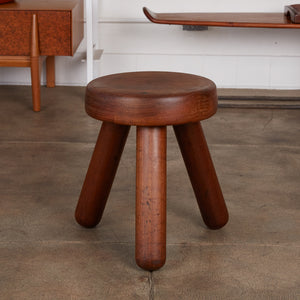 Patinated Wood Tripod Milking Stool