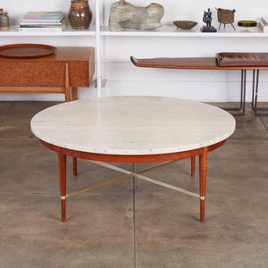 Paul McCobb Round Travertine Coffee Table