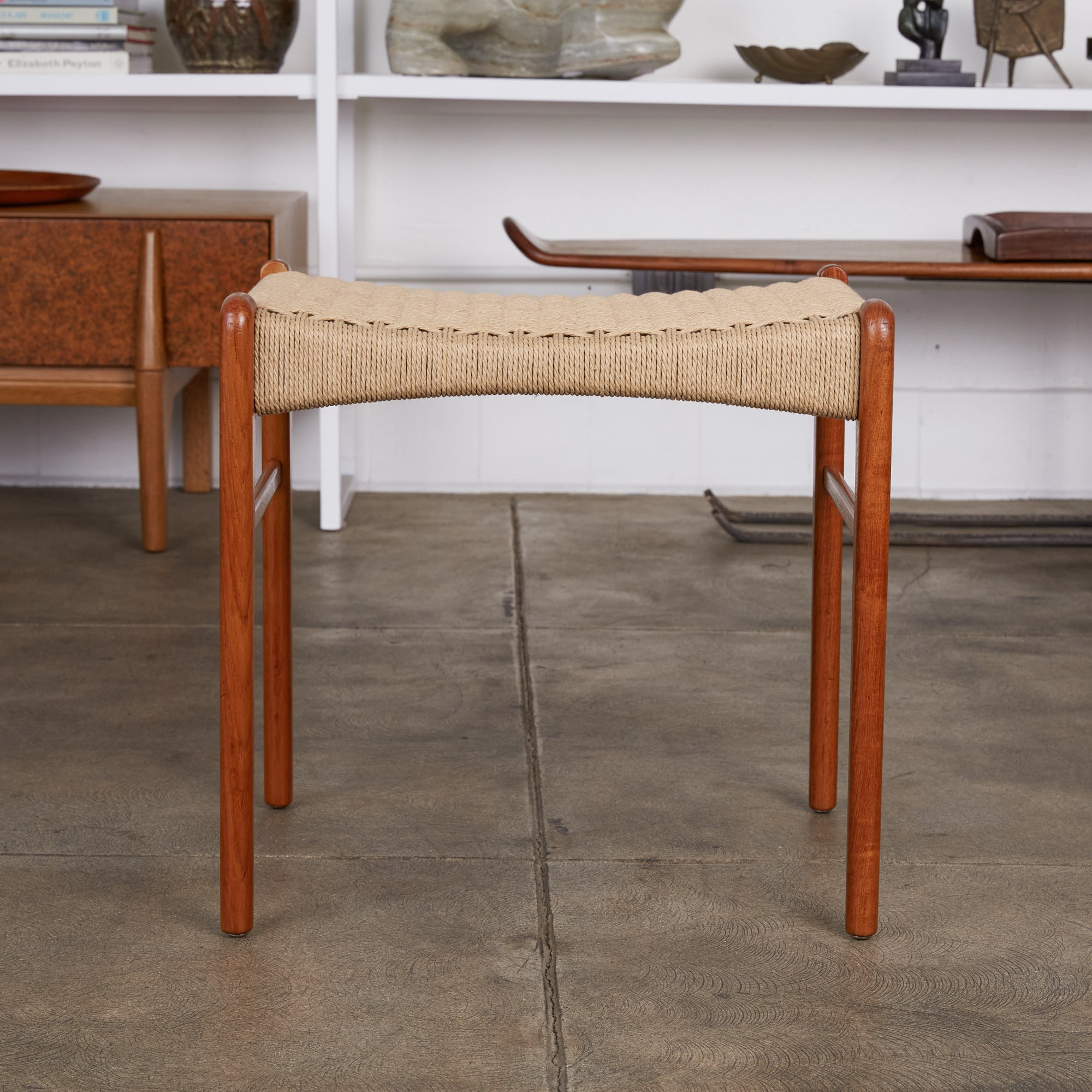 Niels Møller Teak and Danish Cord Stool or Ottoman