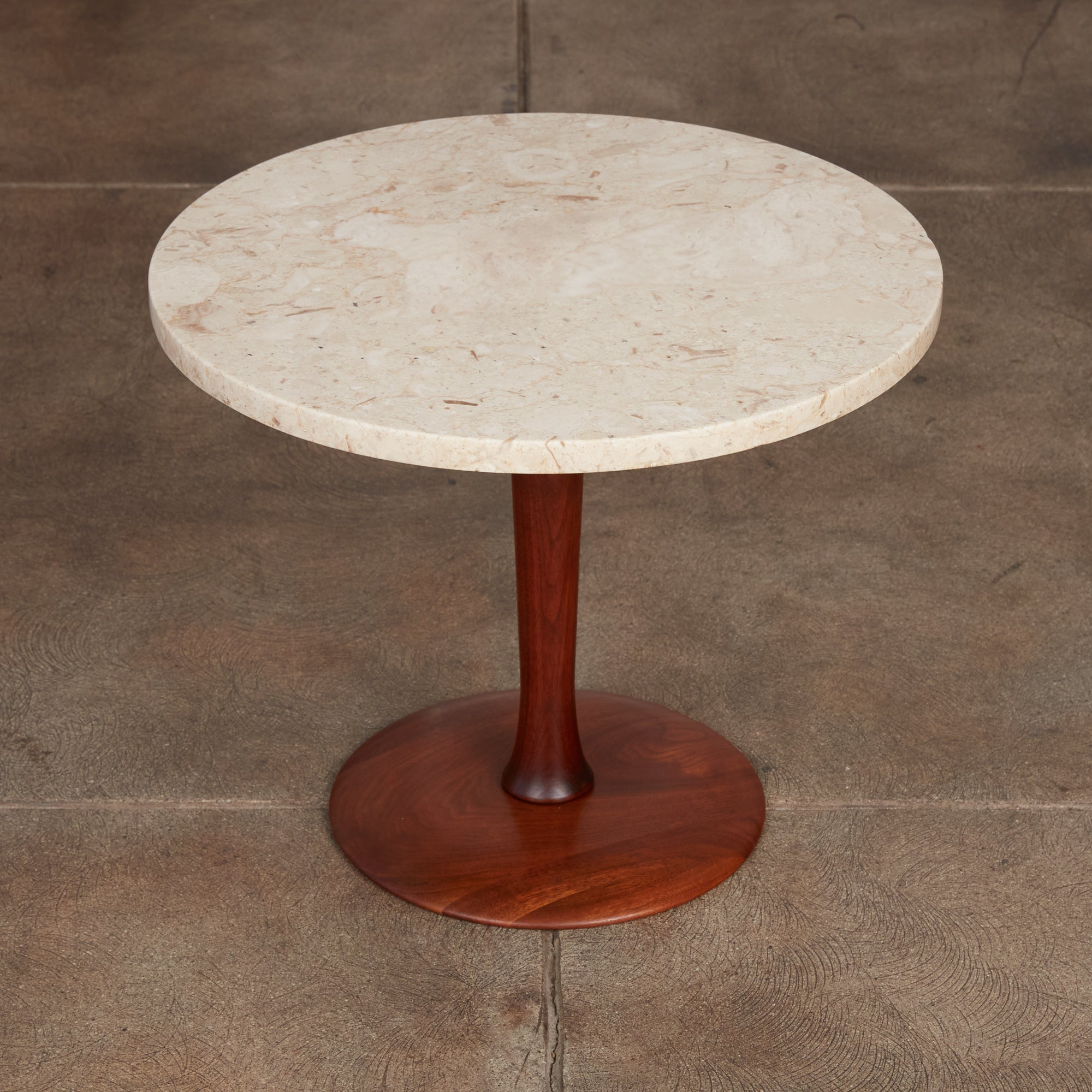 Italian Travertine Side Table with Turned Walnut Base