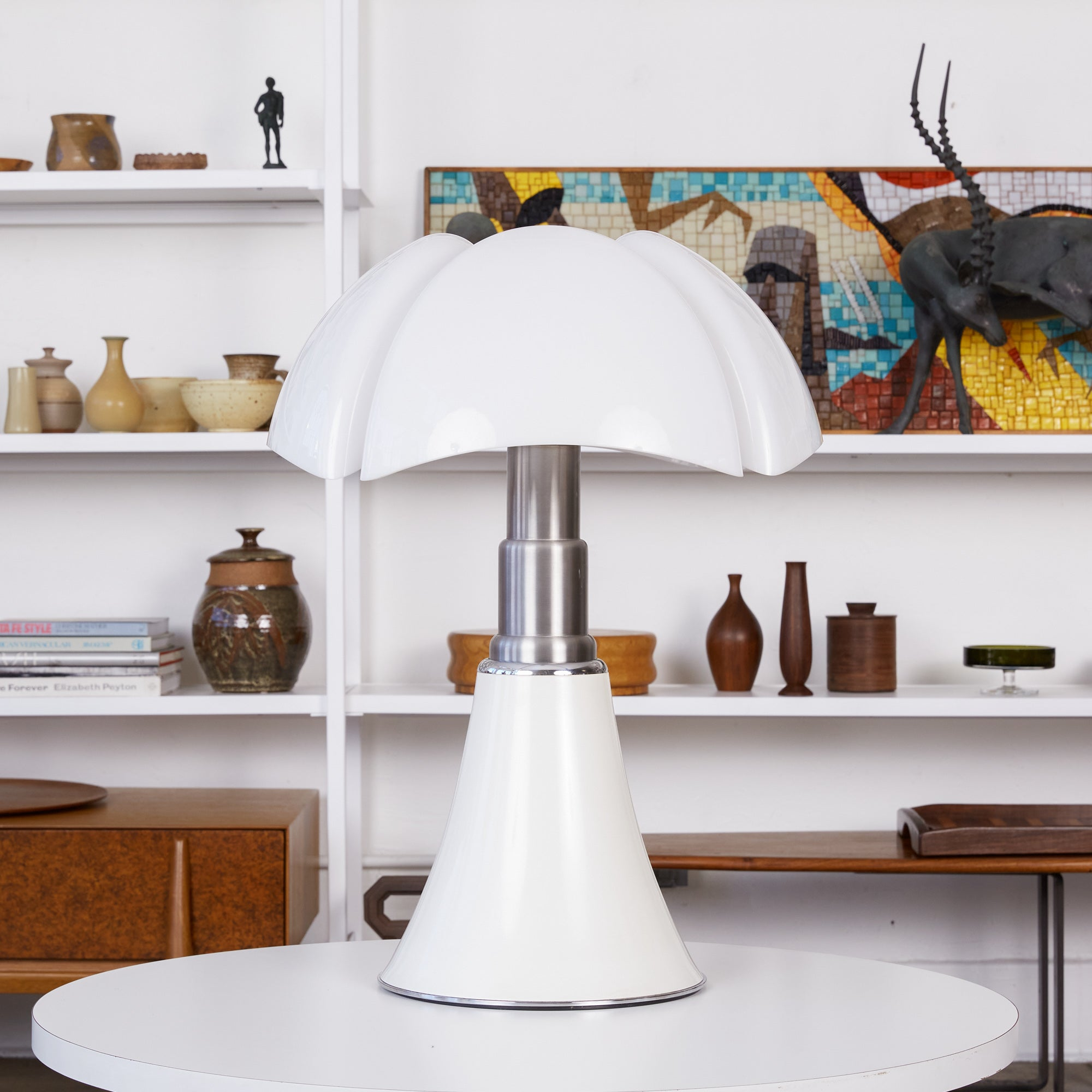 White Pipistrello Table Lamp by Gae Aulenti