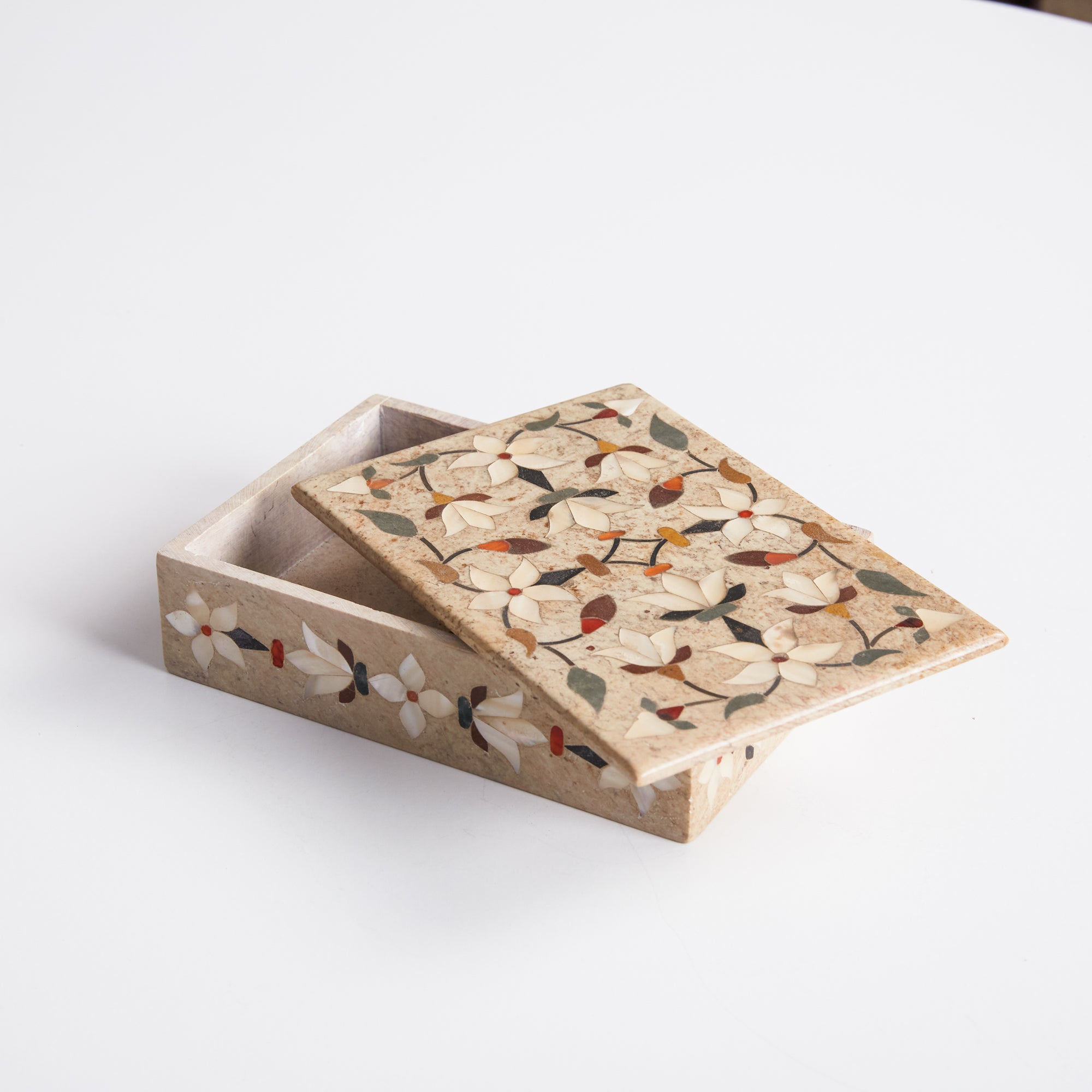 Mother of Pearl Floral Inlay Sandstone Box