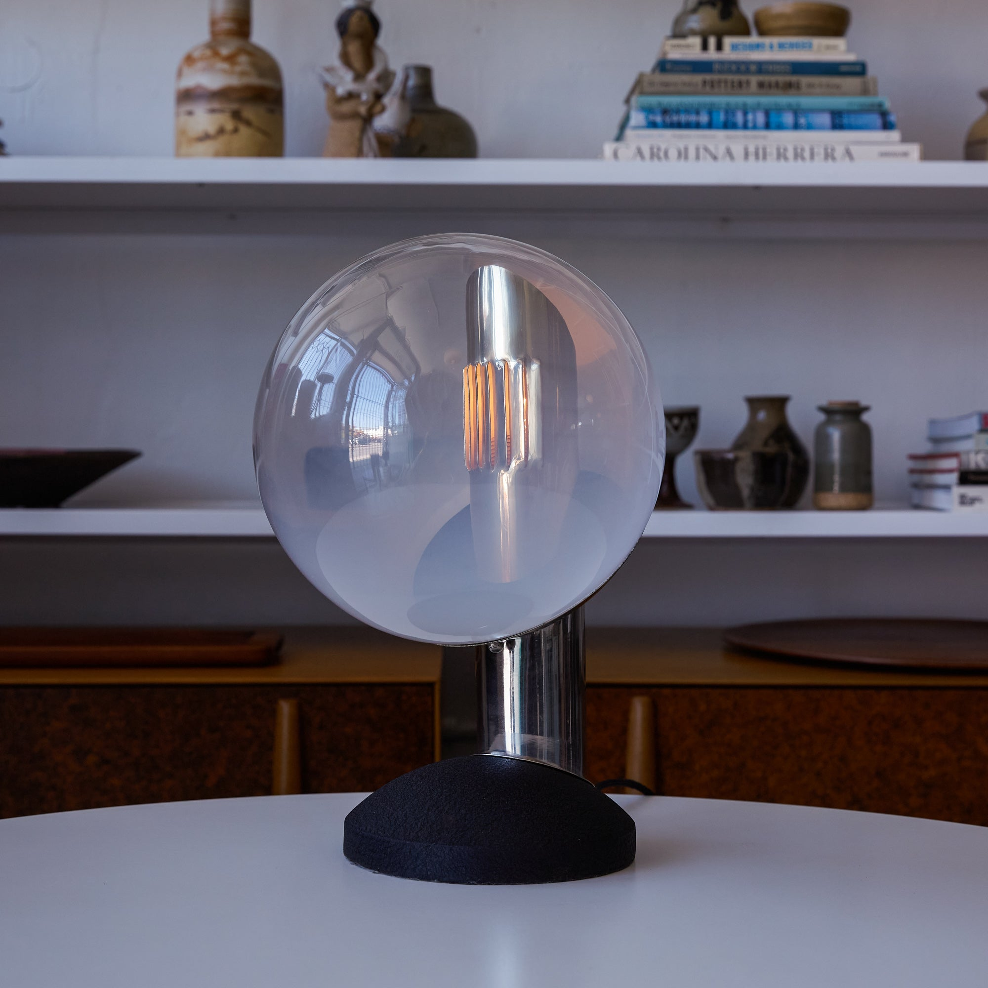 Glass Globe Table Lamp by Kosta