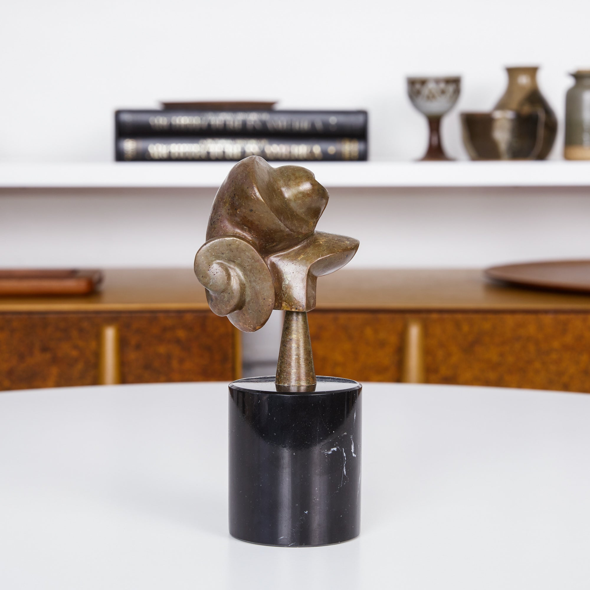 Jean Arp Style Biomorphic Bronze Sculpture with Marble Base