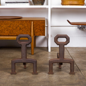 Pair of Cast Iron Brutalist Andirons