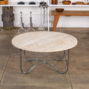 Walter Lamb for Brown Jordan Bronze Patio Coffee Table with Travertine Top