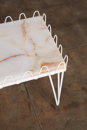 Jean Royère Style Undulating Coffee Table with Onyx Top