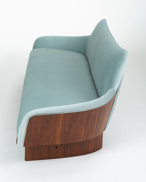 Gondola Sofa in Ice Blue Velvet with Walnut Details