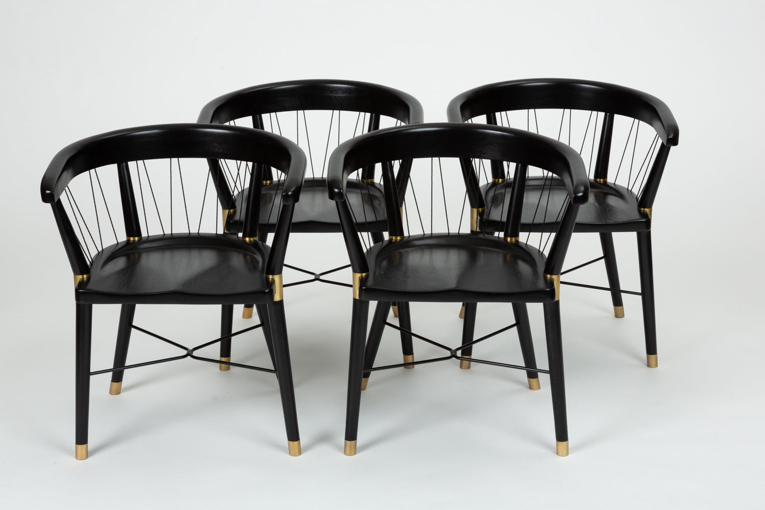 Set of 8 Ebonized Dining Chairs with String