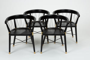Set of 8 Dunbar Style Ebonized Dining Chairs with String