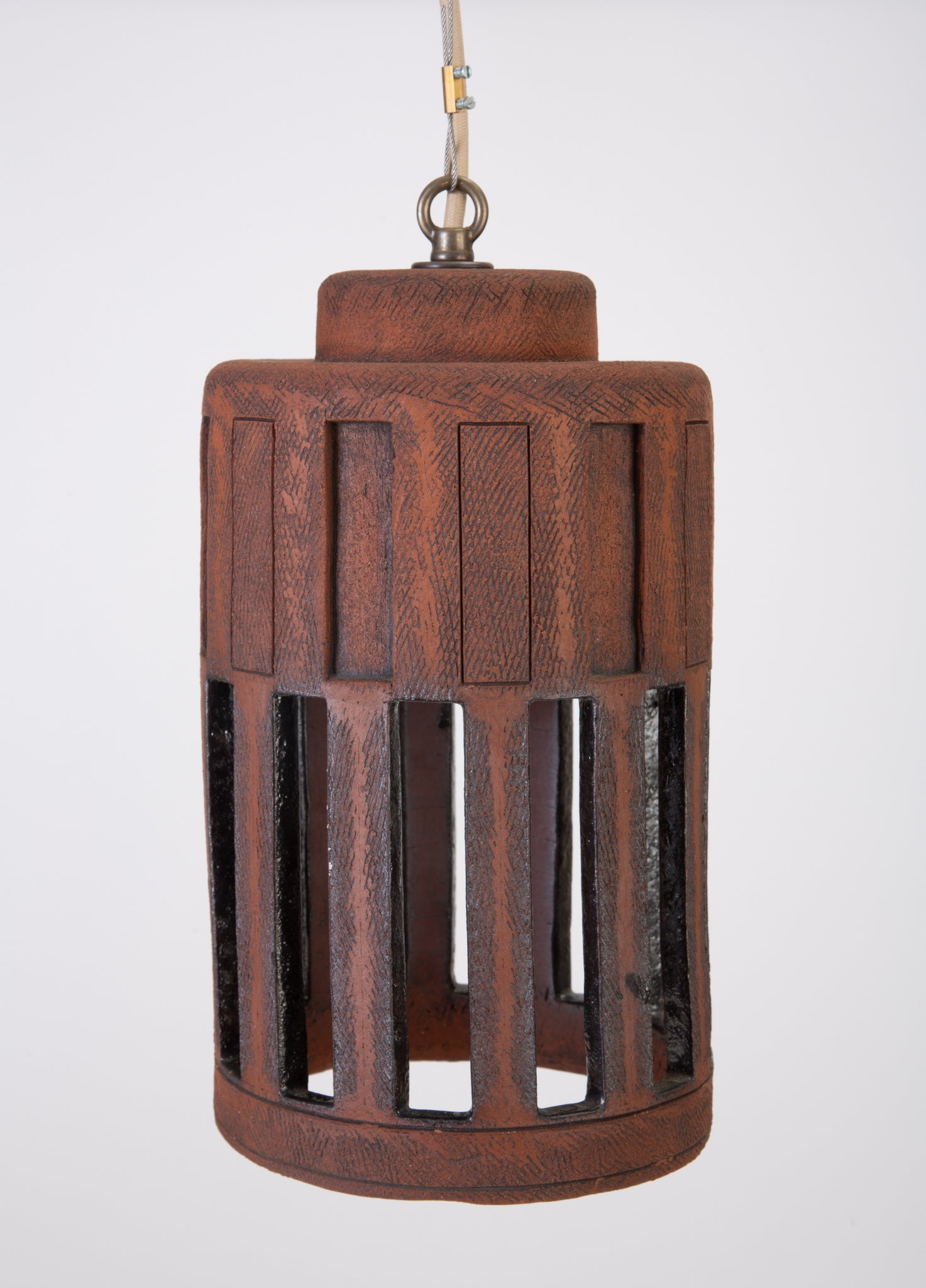 1960s Studio Pottery Cylindrical Pendant Light Fixture with Rectangular Impressions