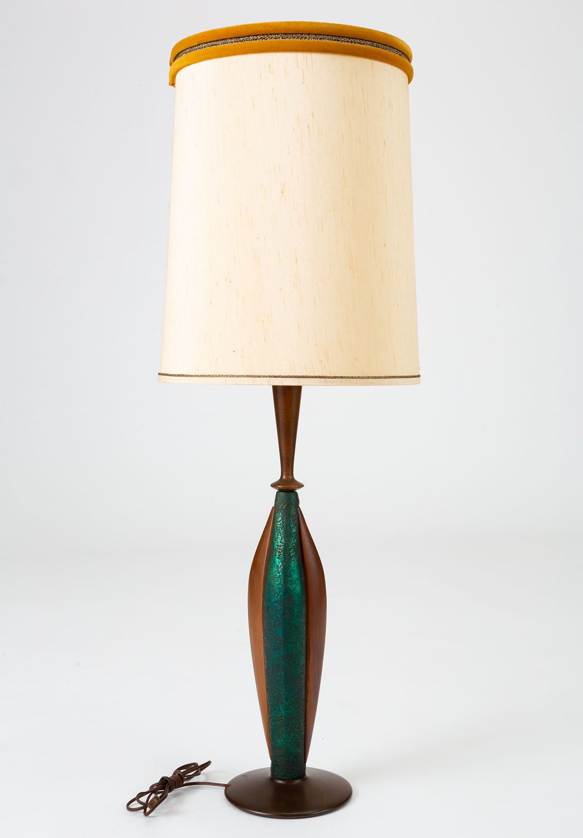 Pair of Moderna Tall Table Lamps in Walnut and Resin