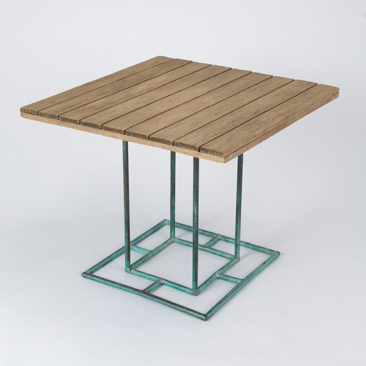 Bronze Patio Dining Table with Wooden Top by Walter Lamb for Brown Jordan