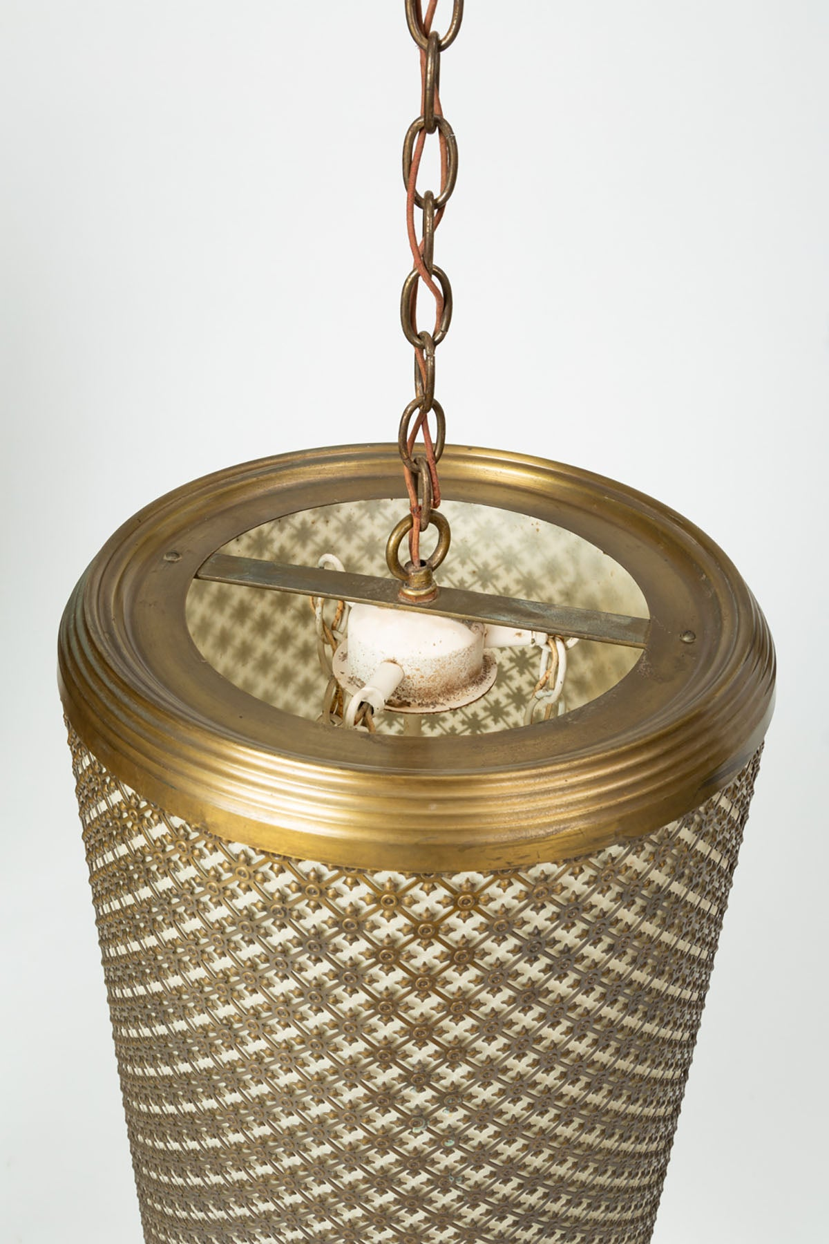 Metal Grated Pendant Light Fixture by The Feldman Company