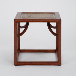 Small Cube Side Table in Solid Rosewood & Etched Brass