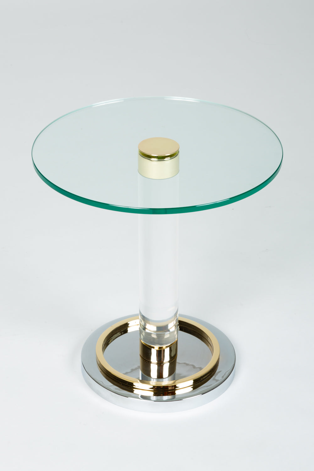 Charles Hollis Jones Glass & Brass Side Table