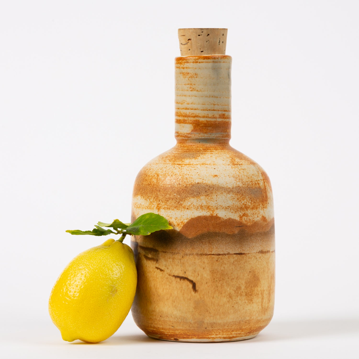 California Studio Pottery Bottle with Cork Stopper