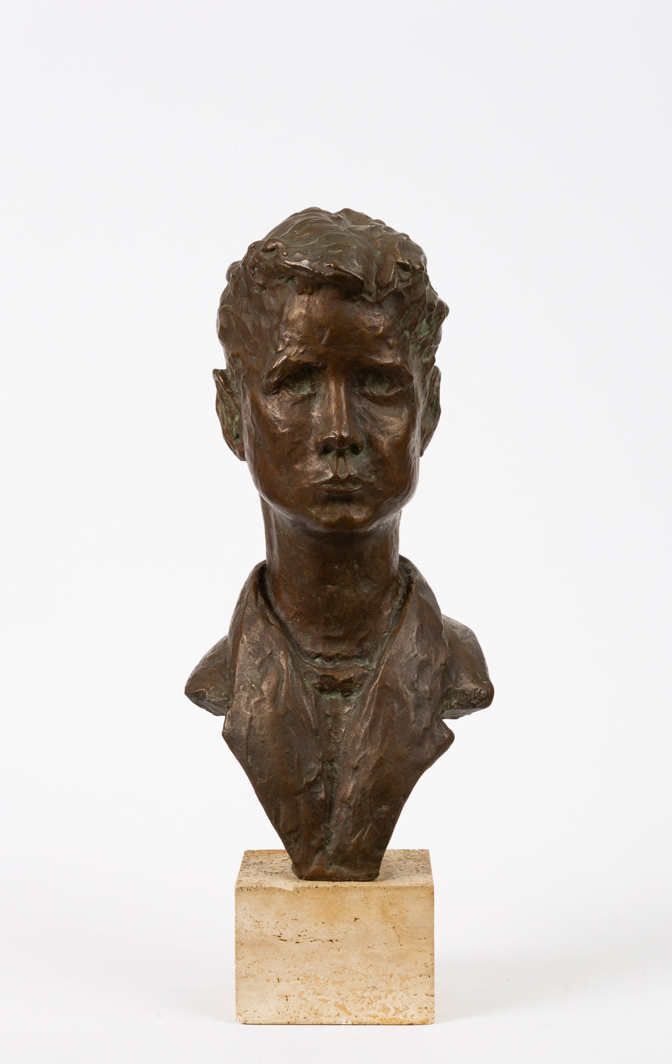 Bronze Bust of Young Man on Travertine Mount