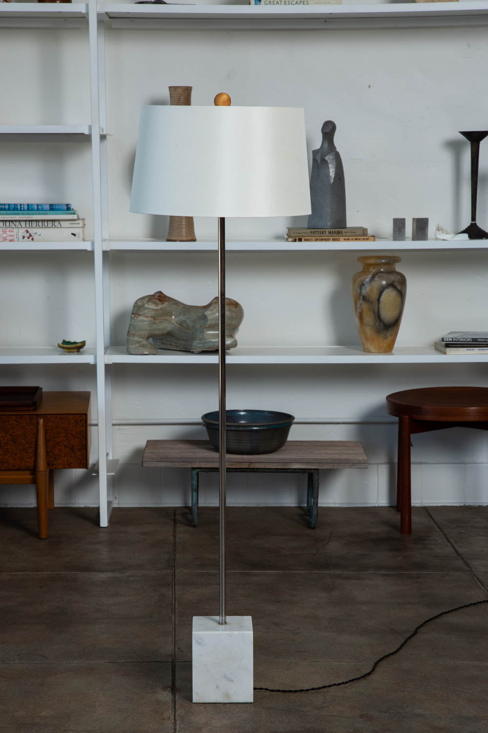 Laurel Lamp Co. Chrome Floor Lamp with Marble Base