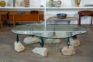 Unique Brutalist Marble + Stone Coffee Table
