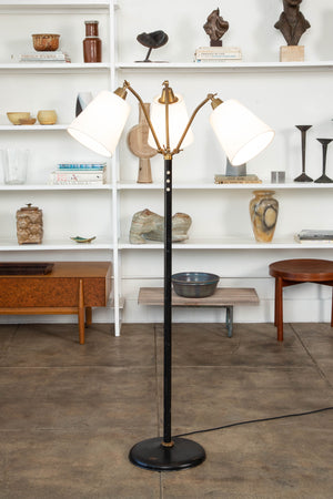 Modernist Three-Head Adjustable Brass Floor Lamp
