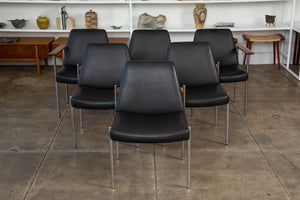 Sven Ivar Dysthe Set of Six Teak and Leather Dining Chairs