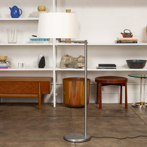 Walter Von Nessen Adjustable Swing Arm Floor Lamp in Nickel