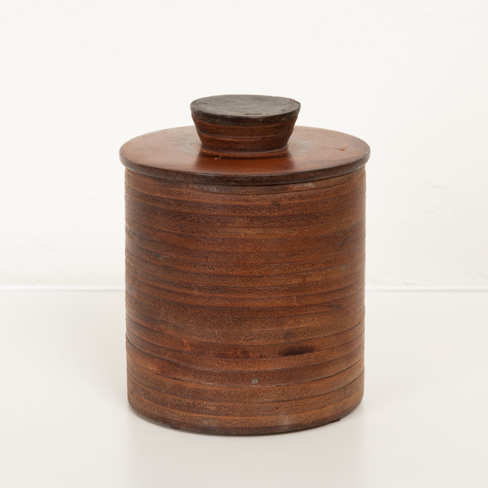 Stacked Leather Canister