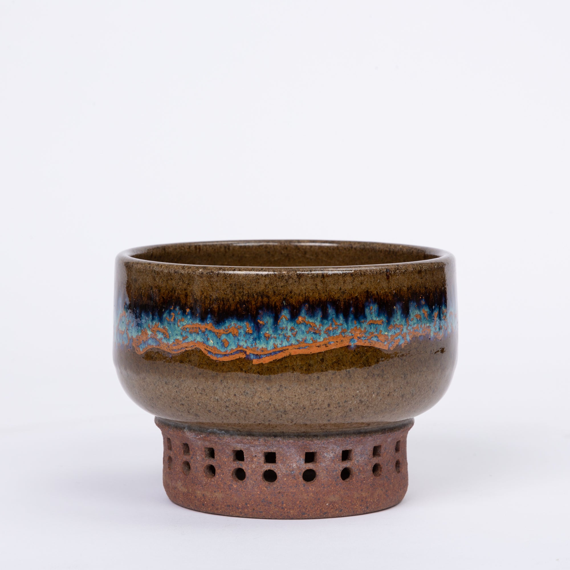 Studio Pottery Stoneware Vessel with Multicolored Glaze