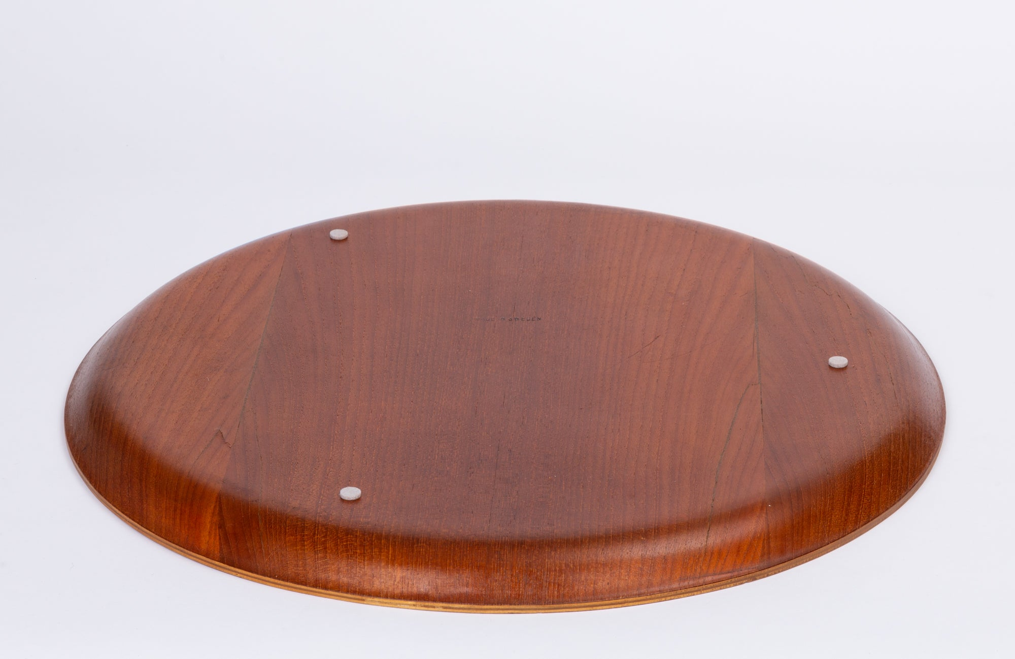 Swedish Round Teak Tray with Curved Edge