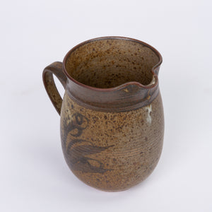 Stoneware Pitcher with Hand Painted Plant Motif