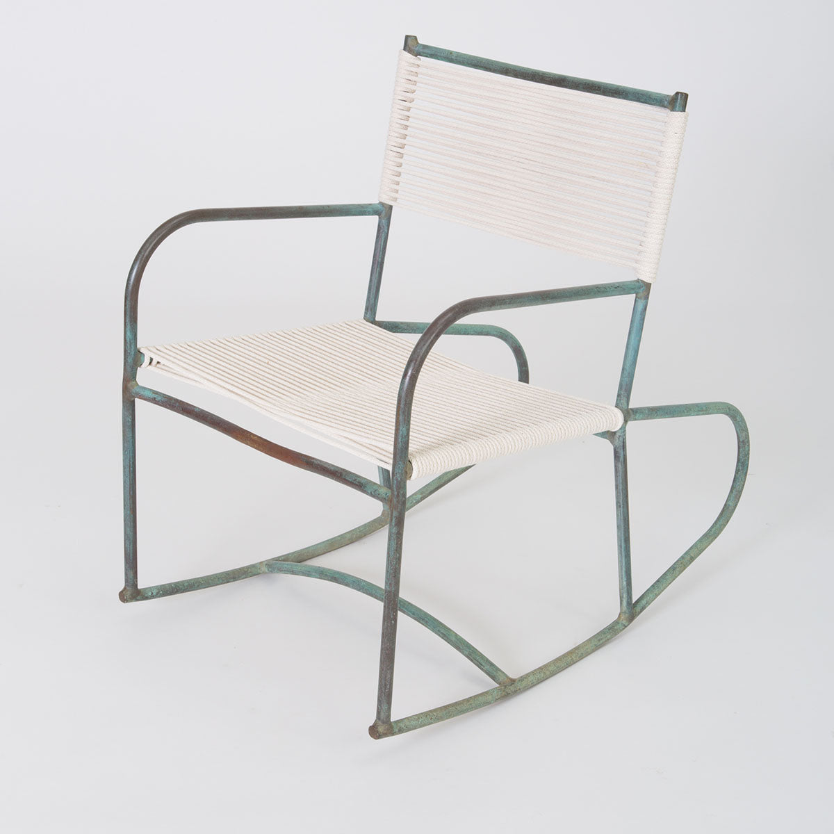 Early Model Bronze Patio Rocking Chair by Walter Lamb