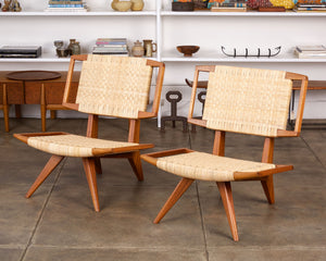 Pair of Paul Laszlo Cane Lounge Chairs