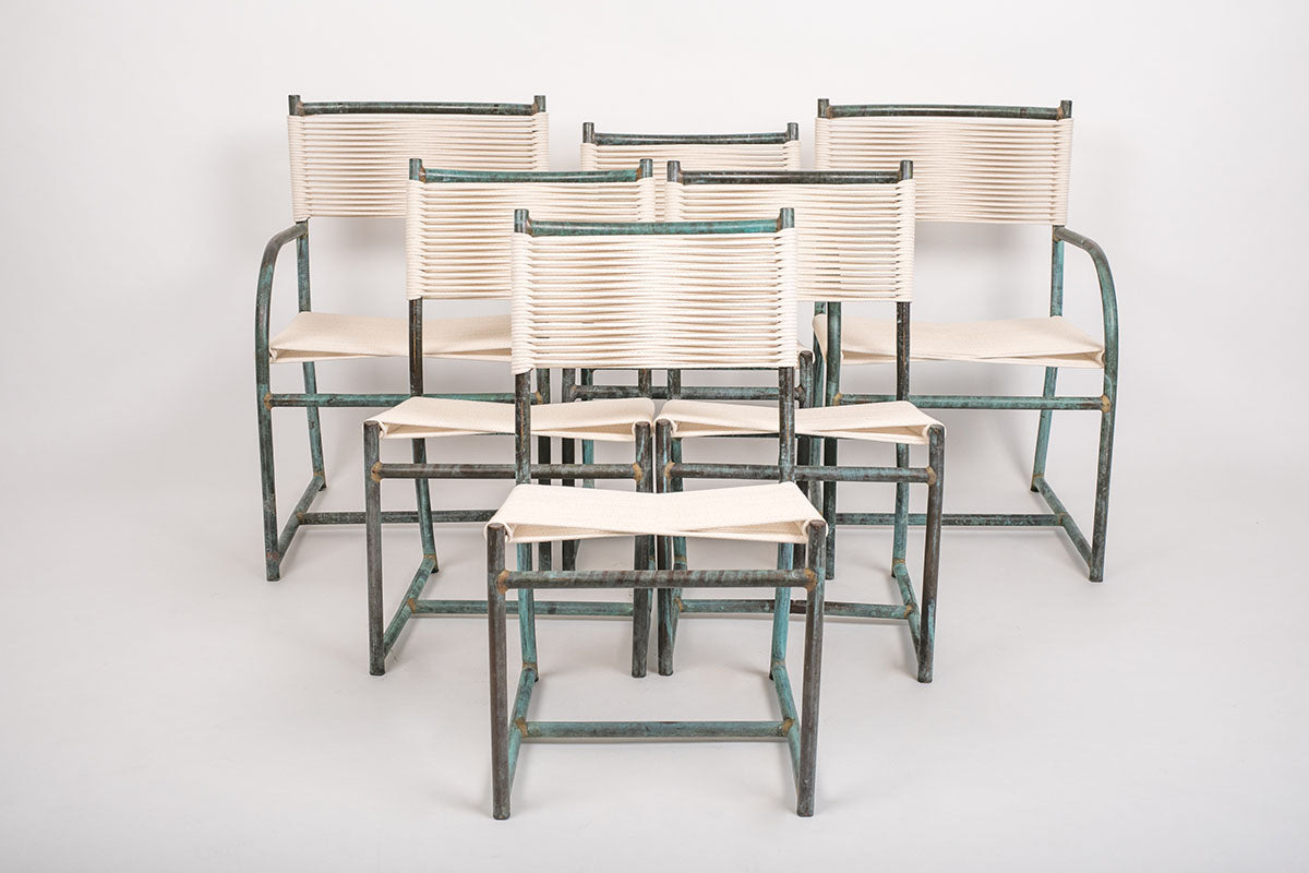 Set of Six Early Model Bronze Patio Dining Chairs by Walter Lamb