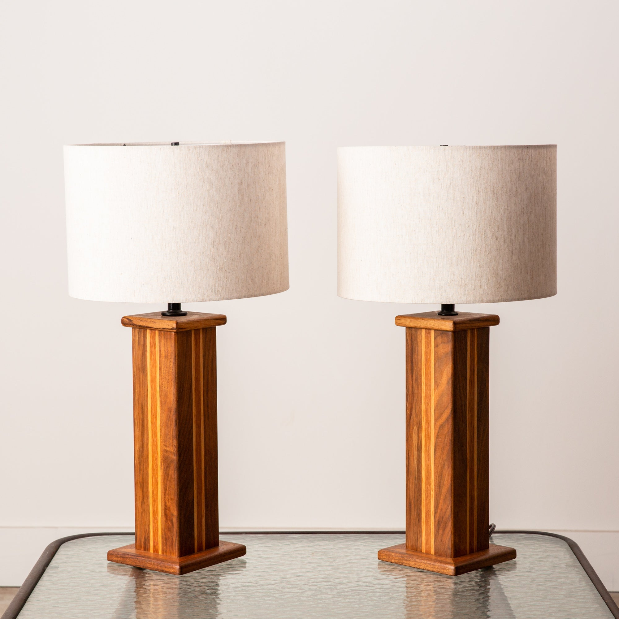 Pair of Studio Craft Lamps in Mixed Woods