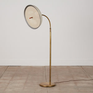 Walter von Nessen Bronze Floor Lamp with Dome Shade