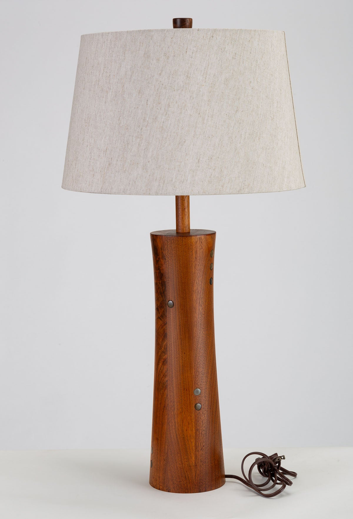 Wooden Table Lamp with Tile Inlay by Gordon & Jane Martz