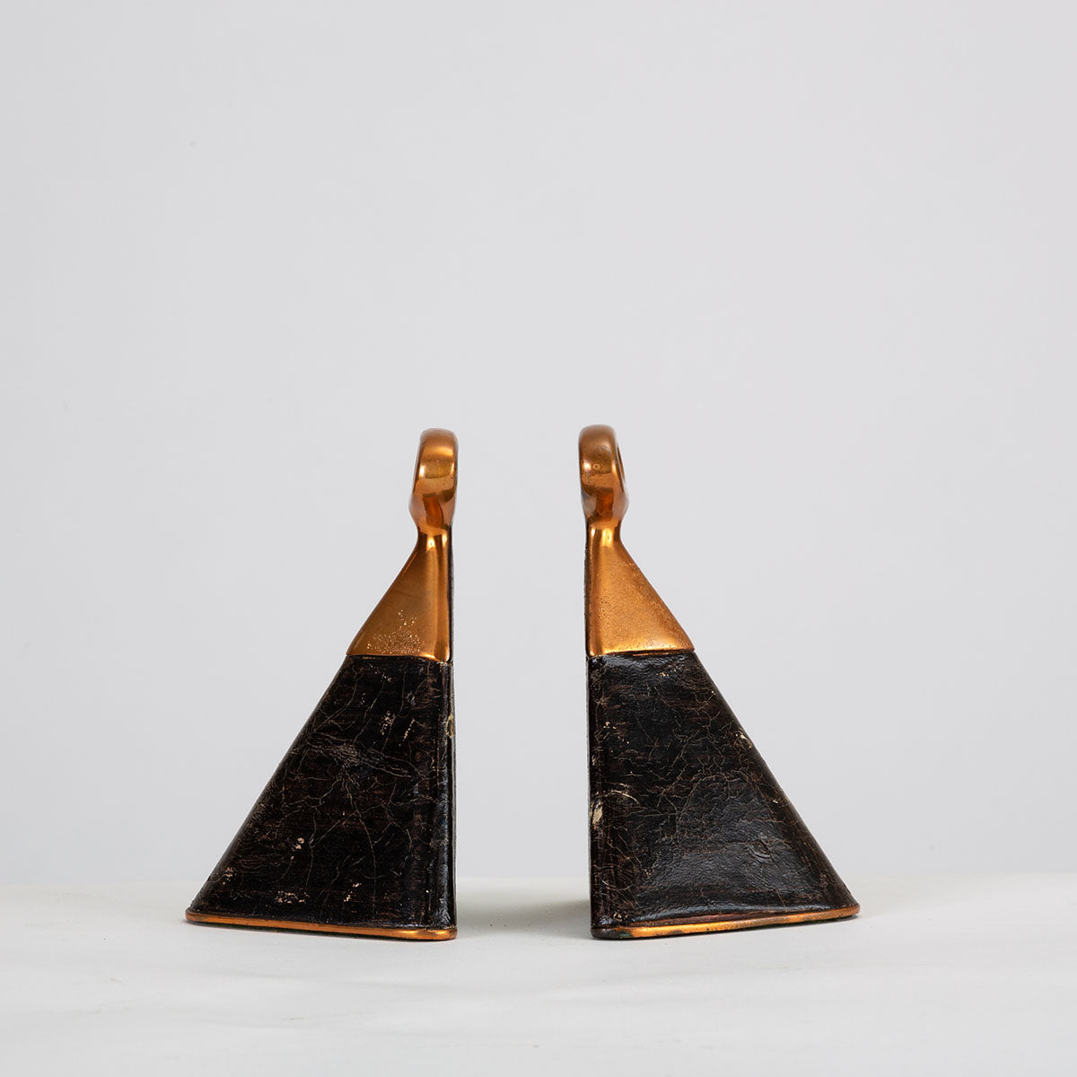 Copper & Leather Bookends by Ben Seibel for Raymor