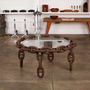 Round Iron Chain Link Glass Coffee Table