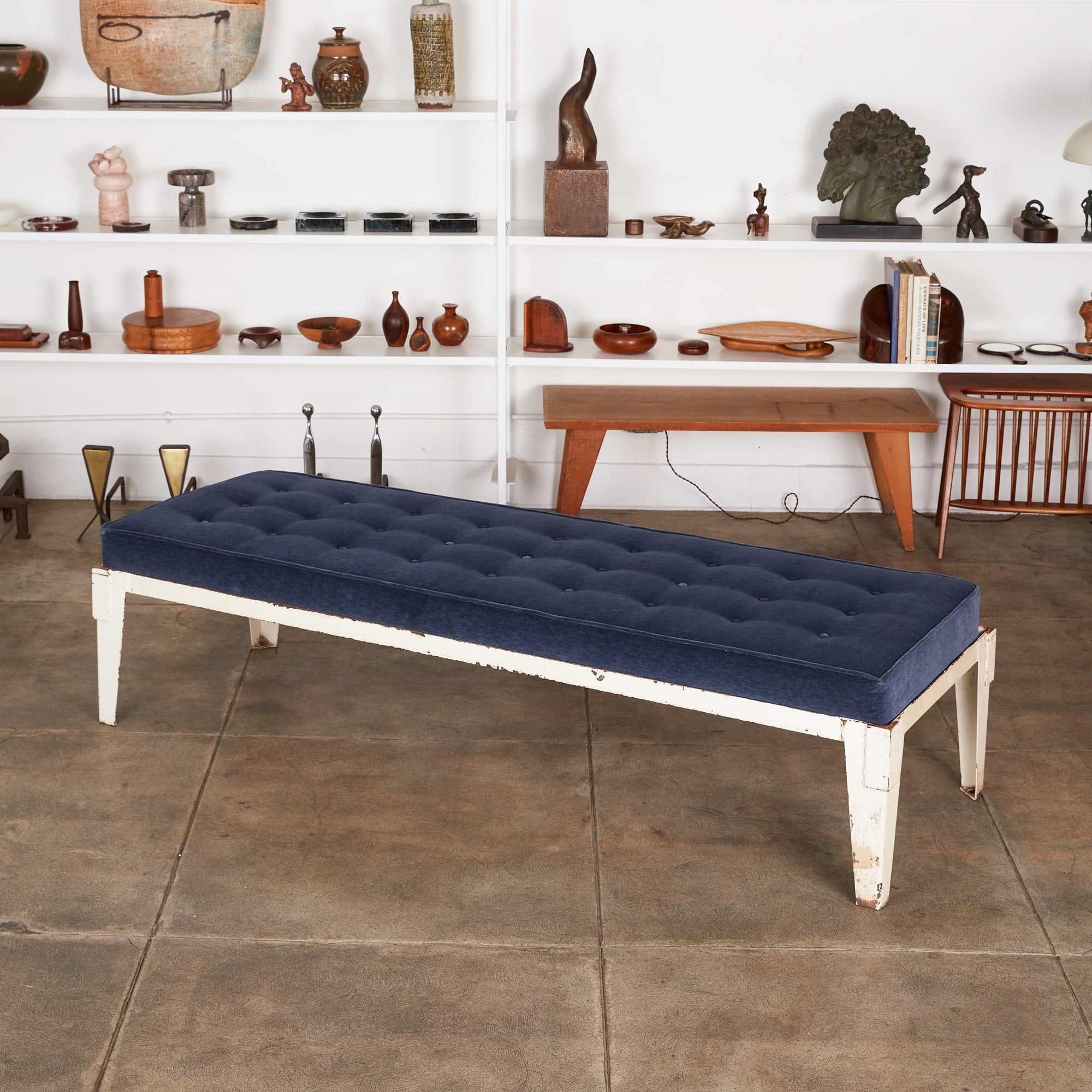 Patinated Metal Daybed with Velvet Cushion
