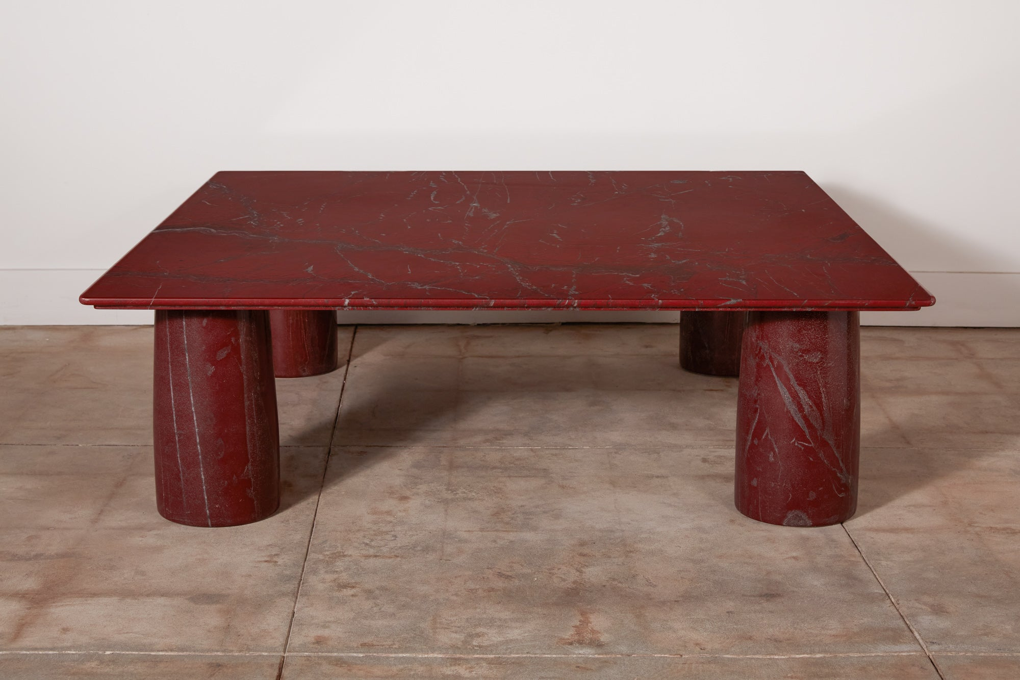 Mario Bellini Red Marble Coffee Table for Cassina