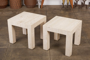 Pair of Postmodern Italian Travertine Side Tables