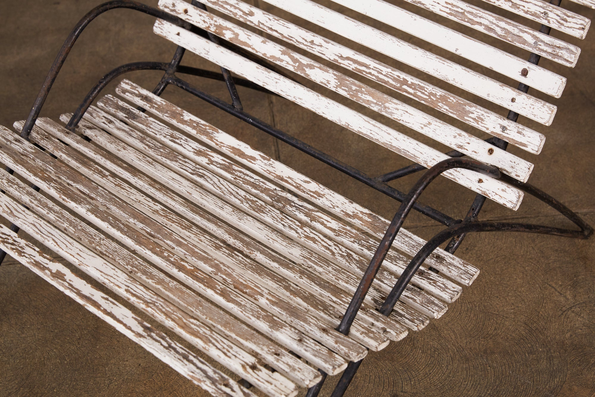 Patinated Iron and Wood Patio Lounge Chair